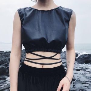 New Zara Faux Leather Crop Top Size Medium